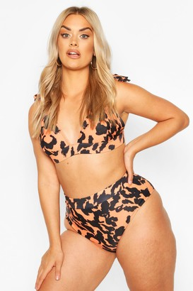 boohoo Plus Leopard High Waisted Bikini