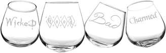 Cathy's Concepts Cathys Concepts Set Of 4 Witchy Woman 21Oz Tipsy Wine Glasses