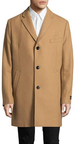 Black Brown 1826 Wool-blend Single-Breasted Overcoat