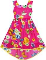 Sunny Fashion JN95 Girls Dress Hi-lo Maxi Chiffon Lace Polka Dot Necklace Party