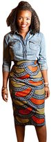 SheShy Trendy Thick African Fashion Print Bodycon Midi Autumn Winter Skirt (L, )