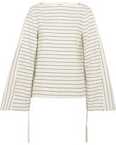 Tibi Striped Cotton-poplin Top - Ivory