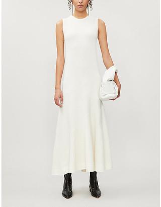 Jil Sander Round-neck linen-blend midi dress