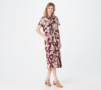 Logo by Lori Goldstein Printed Woven Dress with Pintuck Detail
