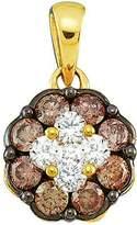 DazzlingRock Collection 0.50 Carat (ctw) 14k Yellow Gold Round & White Diamond Ladies Cluster Flower Pendant