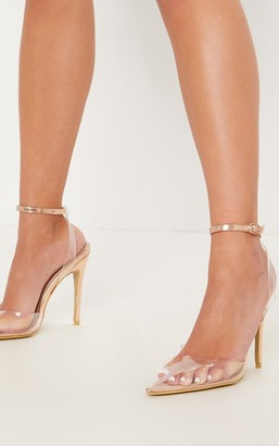 clear Kultfash Rose Gold Ankle Strap Court Shoes