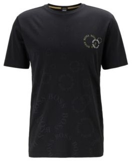 BOSS Regular-fit T-shirt in cotton with layered metallic logo