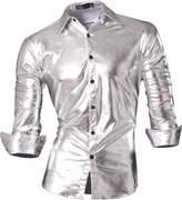 jeansian Men's Slim Lion Print Long Sleeves Dress Shirts Z030 M