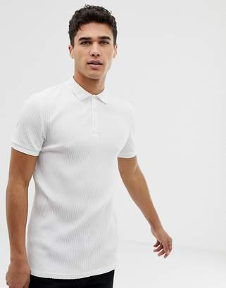 Asos Design DESIGN muscle fit jersey polo in rib in white