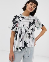 Asos block floral ruched woven t-shirt