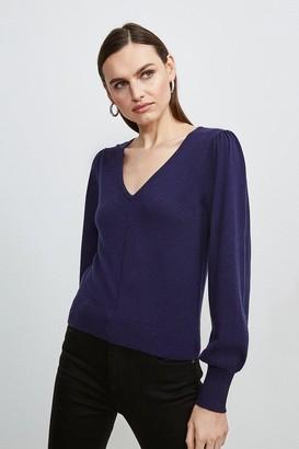 Karen Millen Puff Sleeve V Neck Knitted Jumper