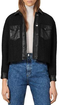 Sandro Enoy Leather-Trimmed Tweed Jacket