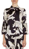 Erdem Aran Koi Pond Flared-Sleeve Blouse, Navy/Ecru