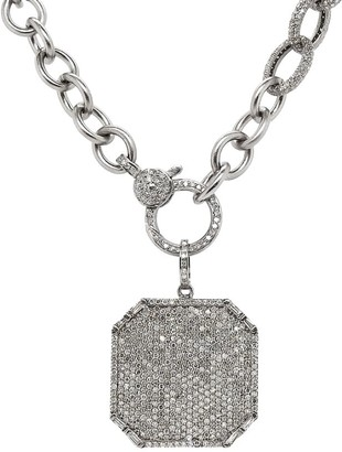 Nina Gilin Rhodium-Plated Sterling Silver Diamond Octogonal Pendant Necklace