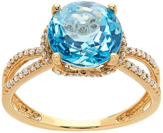14k Gold Blue Topaz & 1/6 Carat T.W. Diamond Split Shank Ring