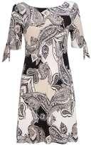 Wallis Petite Grey Paisley Print Tie Sleeve Dress