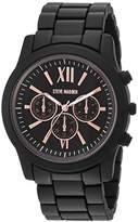 Steve Madden Men's Quartz Stainless Steel Dress Watch, Color:Black (Model: SMW094BK-Q)