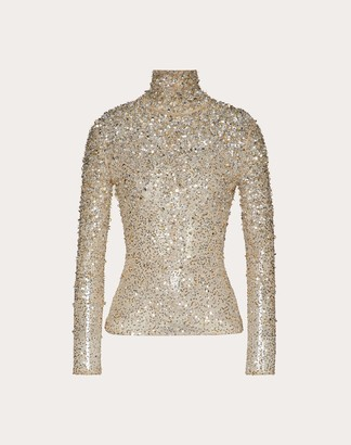 Valentino Embellished Stretch Tulle Top Women Silver Cotton 53%, Elastane 21% 40