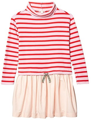 crewcuts by J.Crew Turtleneck Mixy Dress in Stripes (Toddler/Little Kids/Big Kids) (Red/Ivory/Pink) Girl's Clothing