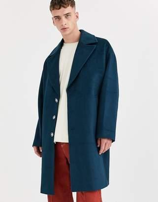 Asos overcoat in wool mix-Blue