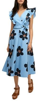 Kate Spade Grand Floral Midi Wrap Dress