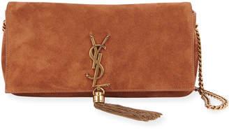 Saint Laurent Kate Baguette Monogram Suede Shoulder Bag w/ Tassel