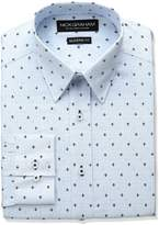 Nick Graham Men's Crosshatch Fleur De Lis Print Cotton Dress Shirt