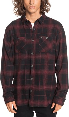 Quiksilver Shadow Swells Regular Fit Plaid Flannel Button-Up Shirt