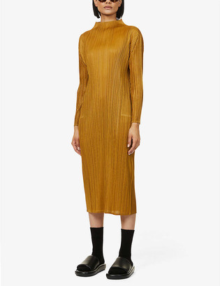 Pleats Please Issey Miyake Monthly pleated high-neck woven midi dress