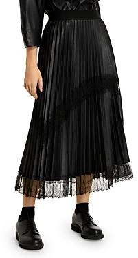 Marina Rinaldi Cannes Pleated Faux Leather Midi Skirt