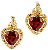 Gem Stone King 1.87 Ct Heart Shape Red Garnet White Diamond 14K Yellow Gold Earrings