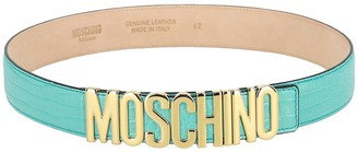 Moschino Thick Snake Embossed Leather Logo Belt