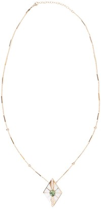Jacquie Aiche 14kt Yellow Gold Diamond-Shaped Diamond, Opal And Tourmaline Inlay Pendant Necklace
