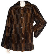 Dennis Basso Faux Fur A-Line Coat with Brushed Pattern