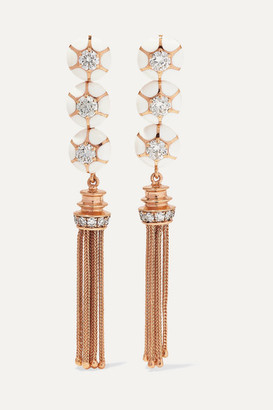 Selim Mouzannar Sea Flowers 18-karat Rose Gold, Enamel And Diamond Earrings - one size