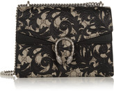 Gucci Dionysus Large Leather-appliquéd Coated-canvas Shoulder Bag - Black