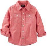Osh Kosh Boys 4-8 Red Chambray Pocket Button-Down Shirt