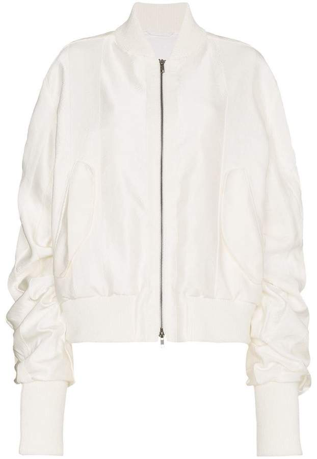 Ann Demeulemeester ruched cashmere cotton-blend bomber jacket