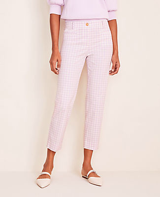 Ann Taylor The Gingham Cotton Crop Pant