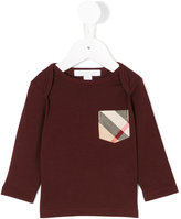Burberry check pocket long sleeve top - kids - Cotton - 6 mth