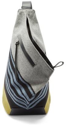 Loewe Anton Striped Felt And Leather Backpack - Black Blue