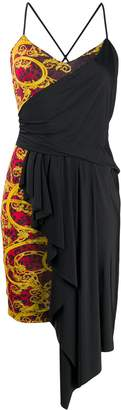 Versace Drape-Panelled Baroque-Print Dress