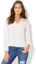New York & Co. Diamond-Lace Peasant Blouse