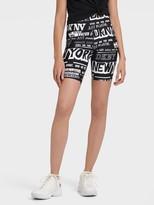 DKNY High-waist Newspaper Print Shorts