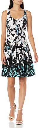 Nine West Women's Scuba Crepe Inverted Box Pleated Dress