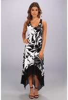 Andrew Marc Flower Print Mesh Hem Maxi Dress MD4Y5280