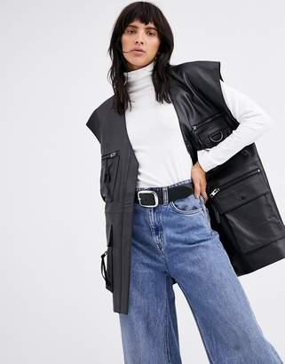 Asos Design DESIGN premium leather utility vest-Black