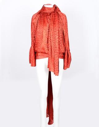Balenciaga Red Viscose and Silk Asymmetric Women's Blouse