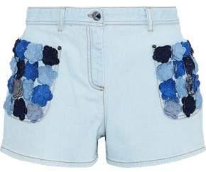 Fendi Floral-appliqued Denim Shorts