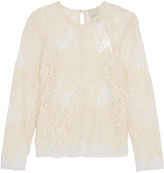 Michelle Mason Open-knit wool-blend and mesh top